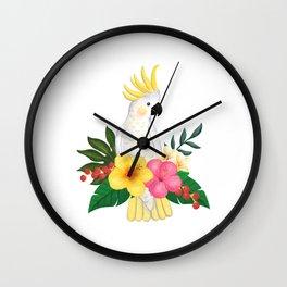 Tropical Cockatoo Floral Watercolor Wall Clock