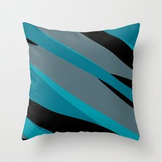 Turquoise gray and black camo abstract Throw Pillow