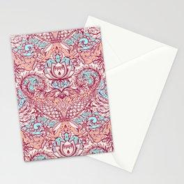 Natural Rhythm - a hand drawn pattern in peach, mint & aqua Stationery Cards