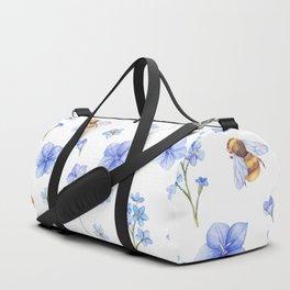 Elegant lavender brown watercolor honey bee floral Duffle Bag