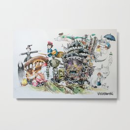 Studio Ghibli Ultimate Watercolour Painting (with all the characters and movies) Metal Print