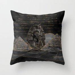 Tutankhamun on Egyptian pyramids landscape Throw Pillow