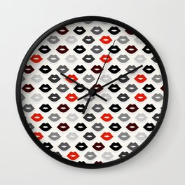 Retro Lips - Red, Grey and Black Pattern Wall Clock