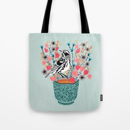 Tea and Flowers - Black and White Warbler by Andrea Lauren Tote Bag