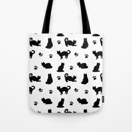 Black Cats and Paw Prints Pattern Tote Bag