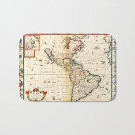 Map of North & South America by Thomas Bassett (1626) Bath Mat