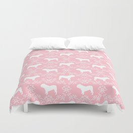 English Bulldog silhouette florals pink and white minimal dog breed pattern print gifts bulldogs Duvet Cover