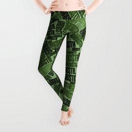 GANGSTA jungle camo / Green camouflage pattern with GANGSTA slogan Leggings