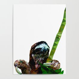 Sloth Low Poly Poster