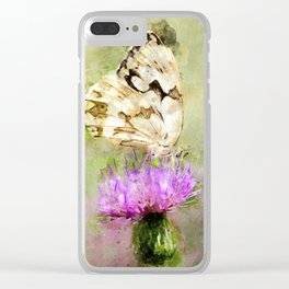 "White butterfly ""Melanargia lachesis"" Clear iPhone Case"