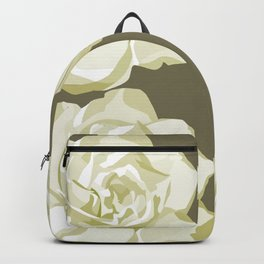 Brown,White Roses Backpack