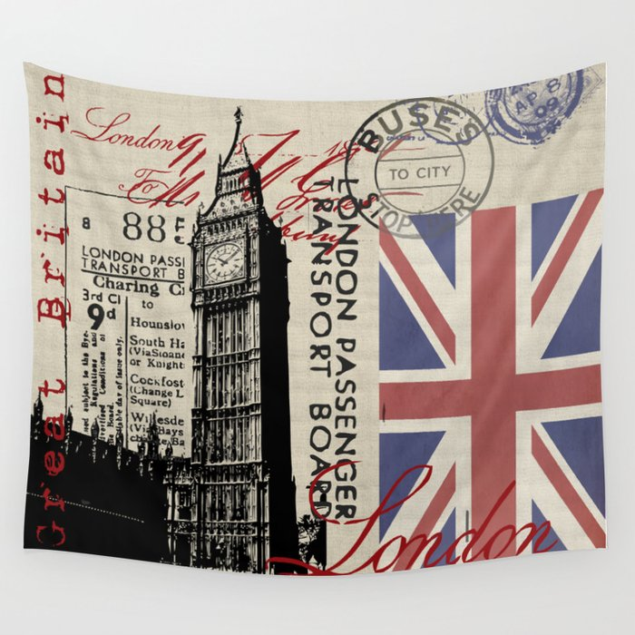 London Great Britain Big Ben Flag Collage Wall Tapestry
