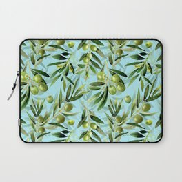 mediterranean summer olive branches on turquoise Laptop Sleeve