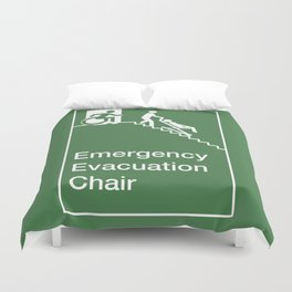 Accessible Means of Egress Icon, Emergency Evacuation Chair Sign Duvet Cover