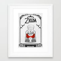 legend of zelda Framed Art Prints featuring Zelda legend - Red potion  by Art & Be