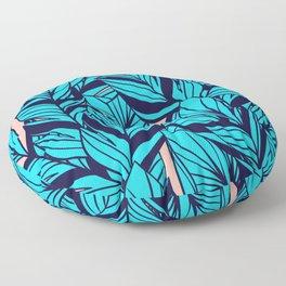 Blue Banana Leaf Pattern Floor Pillow