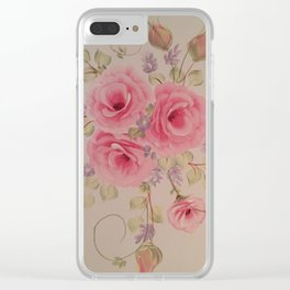 Spray of cottage chic cabbage pink roses, rosebuds and lavender larkspur Clear iPhone Case