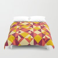 yellow pattern Duvet Covers featuring Yellow by cmykelsey