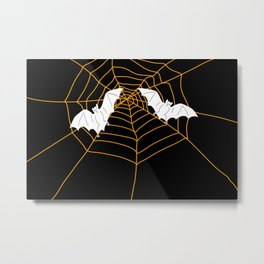 Halloween Orange Spider web with Bats Metal Print