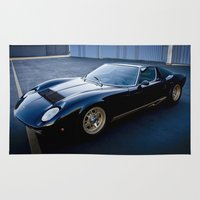 lamborghini Area & Throw Rugs featuring 1971 Lamborghini Miura  by Hugh Hamilton