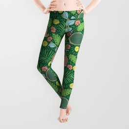 Tennis racket and ball among flowers and leaves Leggings