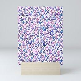 Pink Purple Blue Leaf Pattern Mini Art Print