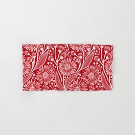 Holly Berry Red Coneflowers Hand & Bath Towel