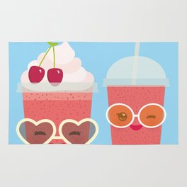 Hello Summer Kawaii cherry smoothie Rug