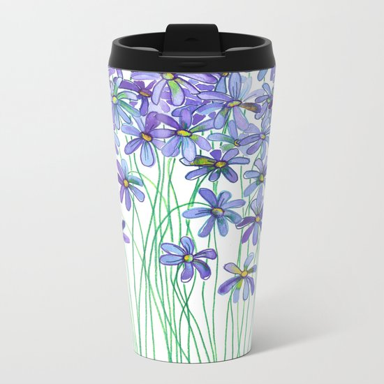 Purple Daisies in Watercolor & Colored Pencil Metal Travel Mug
