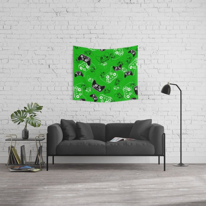 Video Game Green Wall Tapestry