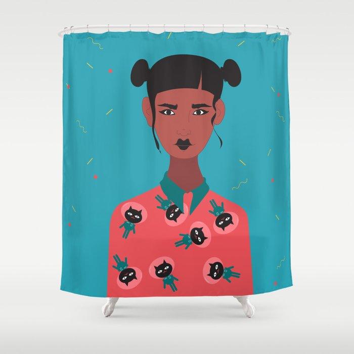 Hairbuns & PrintShirts Shower Curtain