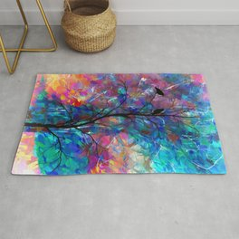 Love Birds Modern Turquoise and Pink Abstract  Wall Art Rug