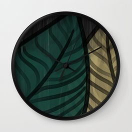 Midnight Citrus - Watercolor Leaves Wall Clock