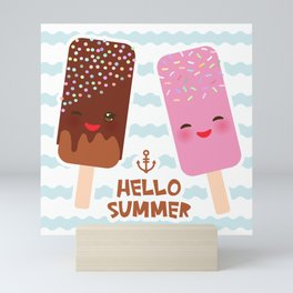 Hello Summer Kawaii ice cream, ice lolly Mini Art Print