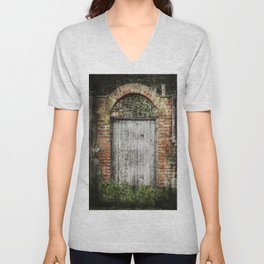 Old doorway Unisex V-Neck