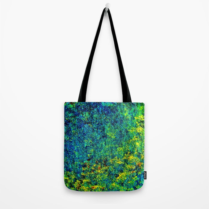 Abstract Flowers yellow and green Tote Bag