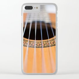 Strings of the guitar above the rose window Clear iPhone Case