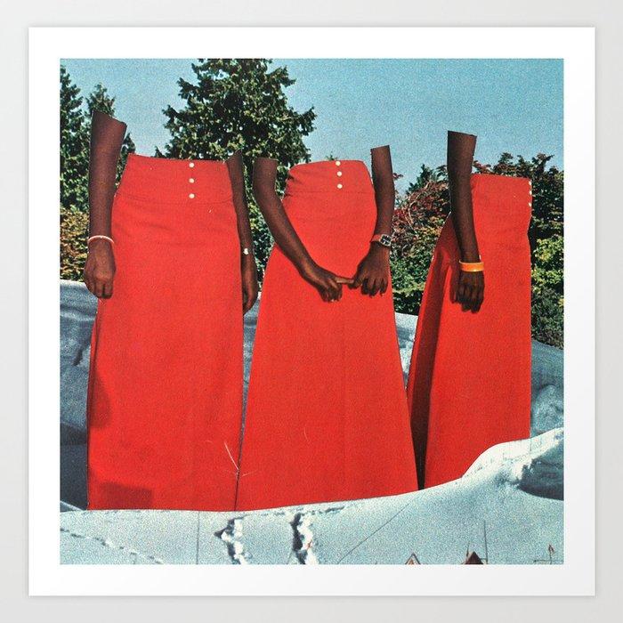 ladies in red Art Print