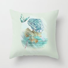 Hydrangea and butterfly Throw Pillow