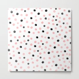 Pink and black spotty mess Metal Print