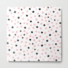 Pink and black spotty mess Metal Print