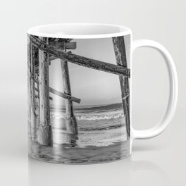 Morning under Newport Pier in Black and White Coffee Mug