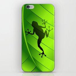 Frog Shape on Green Leaf iPhone Skin