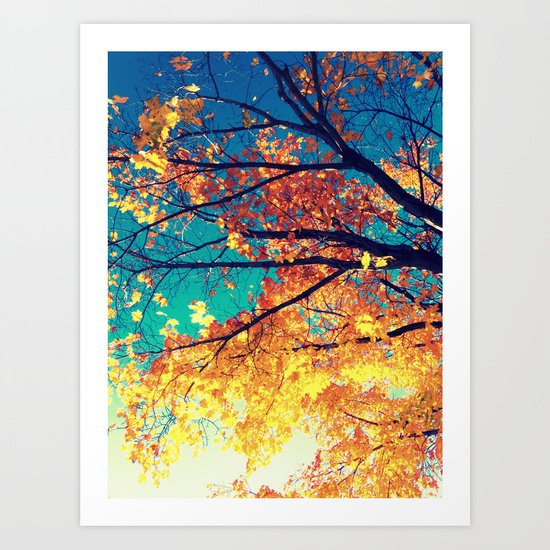 AutuMN Golden Leaves Teal Sky Art Print