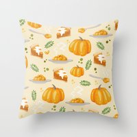 pumpkin Throw Pillows featuring pumpkin by Ceren Aksu Dikenci