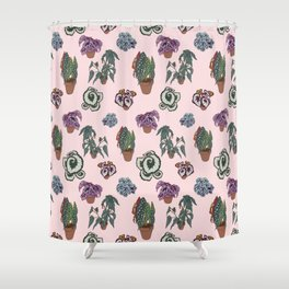 Begonia Illustrated Pattern Shower Curtain