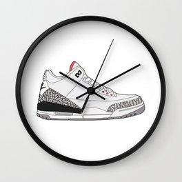 Jordan 3 - White Cement Wall Clock