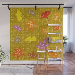 Autumn Leaves on Gold-leaf Screen Wall Mural