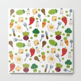 Cute Kawaii Food Pattern Metal Print
