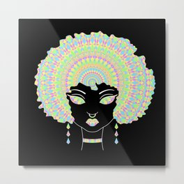 Cute Black Girl With Afro Mandala Metal Print